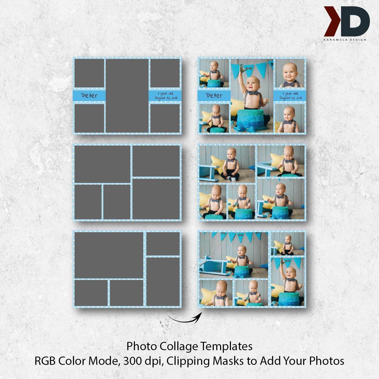 7X5 Photo Collage Card Templates, First Birthday, Birthday