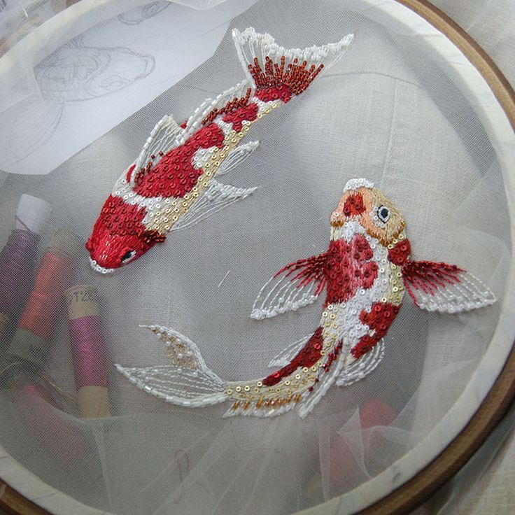 b03bd9808cec7a Koi fish embroidery | Unconventional stitches | Crewel embroidery ...