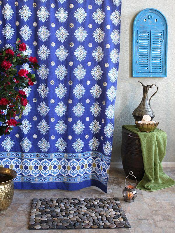 Blue Shower Curtains Moroccan Quatrefoil Fabric