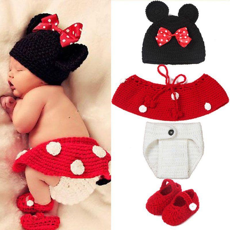 Newborn Baby Girls Boys Crochet Mickey Minnie Mouse Photo Shoot Props Hat Skirts