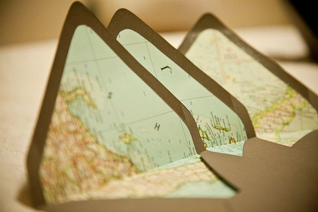 Map-lined envelopes