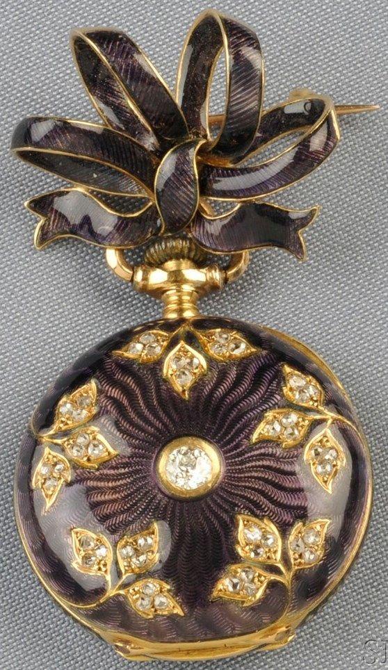 Pendant Watch; Tiffany, Antique, 18K Gold & Enamel Case & Bow, Diamonds. C. 1890 -1912