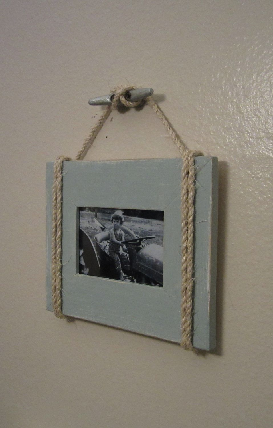 Shabby Chic Nautical Beach cottage 4X6 Rope Boat cleat Picture Frame ...