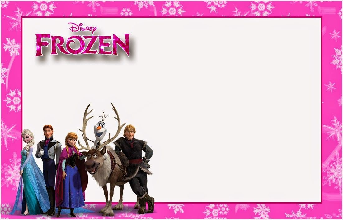 Frozen in PinkFree Printable Invitations, Cards or Photo Frames