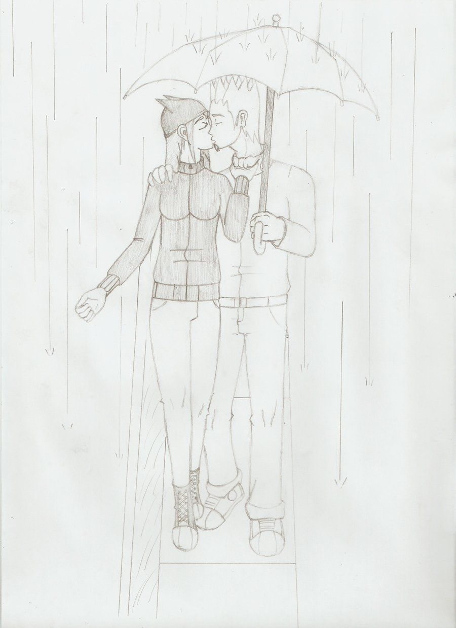 People Kissing in the Rain | Drawing Of People Kissing In ...