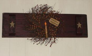 Primitive wood decor, Handmade decor,Primitive wall shutter, Wood Ruffles and Lace Primitives
