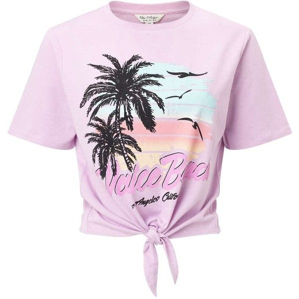Miss Selfridge Pink Venice Beach T Shirt 35 Liked On Polyvore Featuring