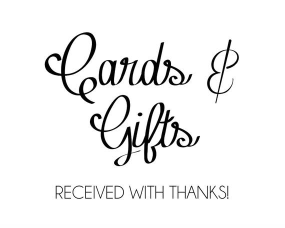 Printable Cards And Gifts Sign Instant Download Wedding