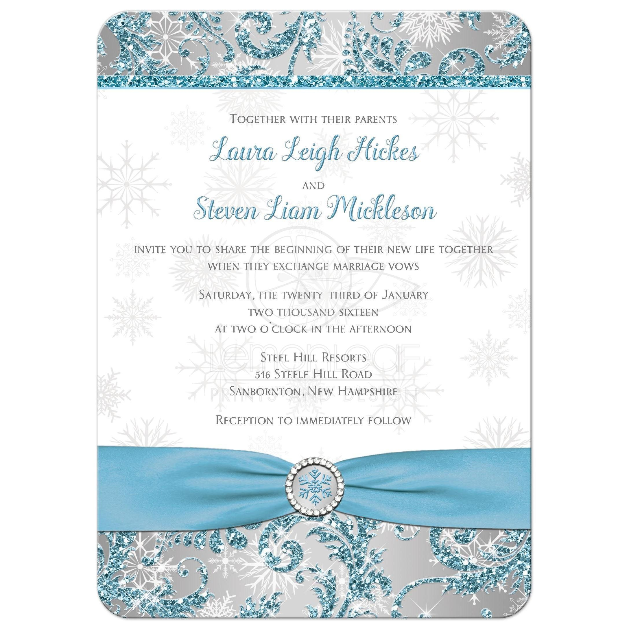 Wedding Invite | Winter Wonderland 5 | Ice Blue, Silver, White ...