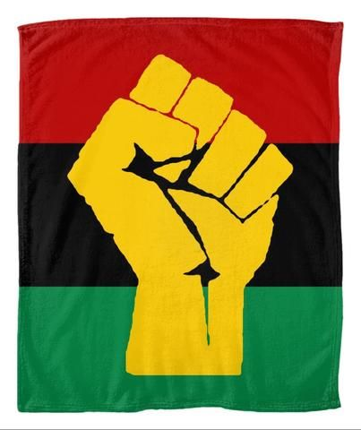 Rbg Flag W Yellow Fist Fleece Blanket Fleece Blanket African Design Celebrate Black History