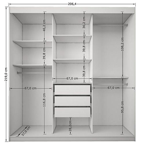 Roupeiro 3 portas pequim sleep iii 3 gavetas branco - Armario de 2 50 metros ...