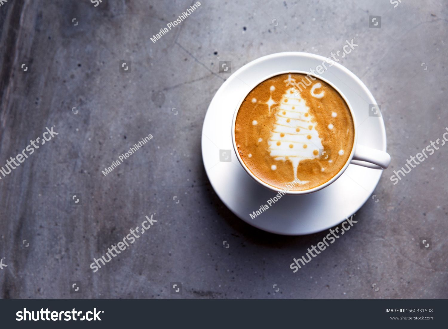 Tasty Cappuccino With Christmas Tree Latte Art On Grey Concrete Background Holiday Concept Ad Aff Tree Latte Christmas Tasty Latte Art Latte Tasty
