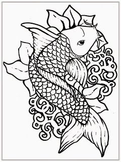 Free Japanese Koi Fish Coloring Pages For Adult Drawing
