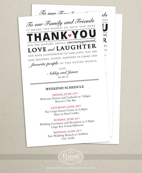 Itinerary Cards For Wedding Hotel Welcome Bag Printed Schedule Destination