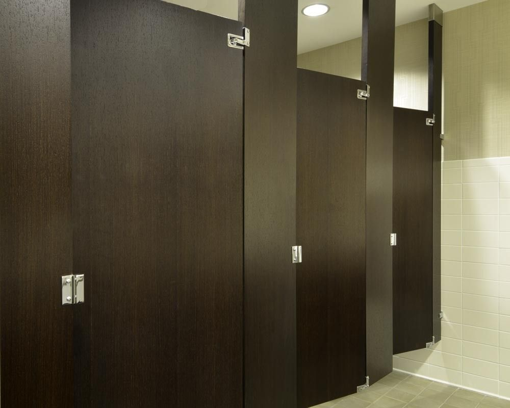 Ironwood Manufacturing Wood Veneer Toilet Partition And Bathroom - Bathroom partition doors