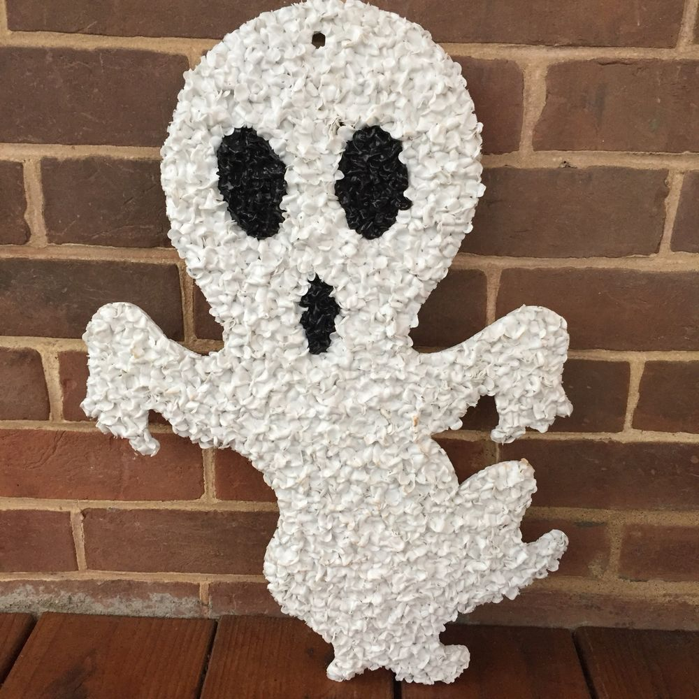 Vintage Halloween Ghost Melted Plastic Popcorn Decoration 19\u201d White - Ghost Halloween Decorations