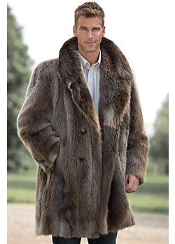 Men's Dominic Double-Breasted Longhaired Beaver Fur Coat, Style ...