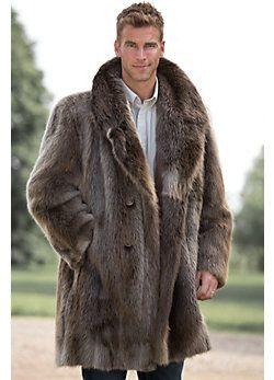 Dominic DoubleBreasted LongHaired Beaver Fur Coat Chic Mens - Feuerwehr skin fur minecraft pe