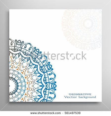 Invitation or Card template with mandala border element Doodle - invitation card decoration