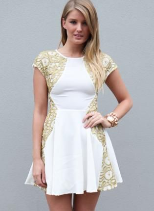 White Tail Dress With Gold Embroidery Http Www Ustrendy Product 90101 Embroider Side Detail And Skater