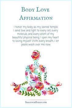 Here is an affirmation to help you nurture self love and love for your body.   Positive self affirmations, Positive affirmations quotes, Affirmations