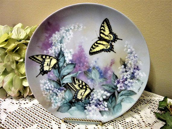 Plate Decorative Western Tiger Swallowtails Butterflies By