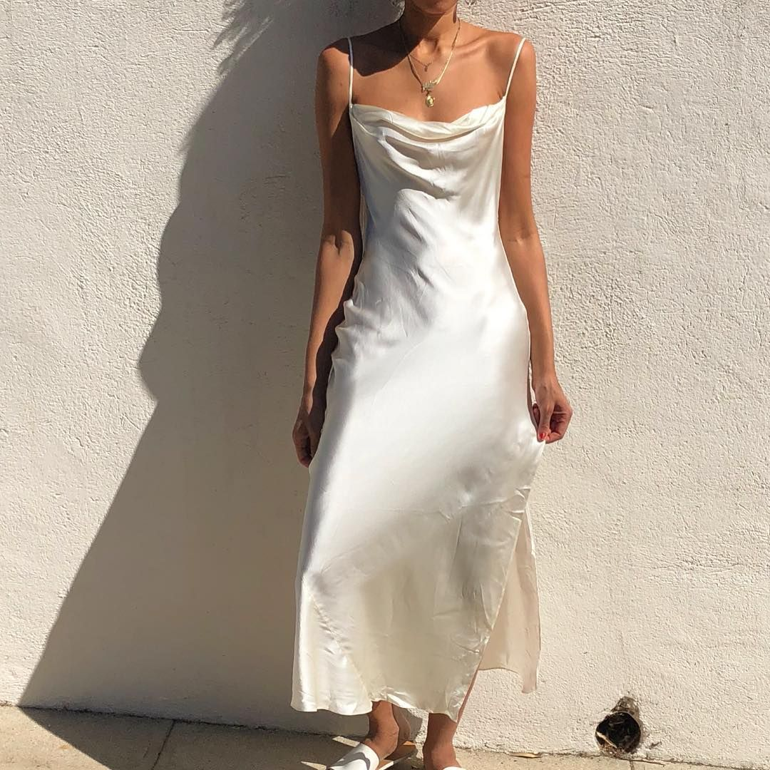Stunning 100 Silk Vintage Ivory Slip Dress With Draped Collar And Open Back Fits Xs S Best 138 Sold Silk Prom Dress Vintage Slip Dress Slip Wedding Dress