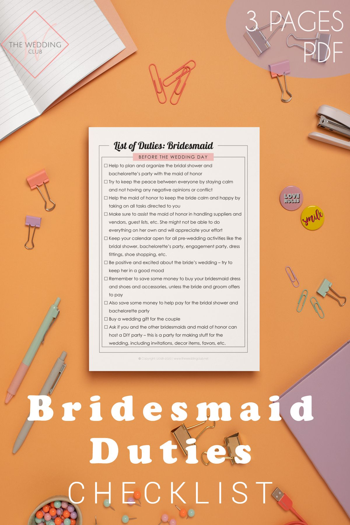 Bridesmaid Duties With Colorful Headings Checklist