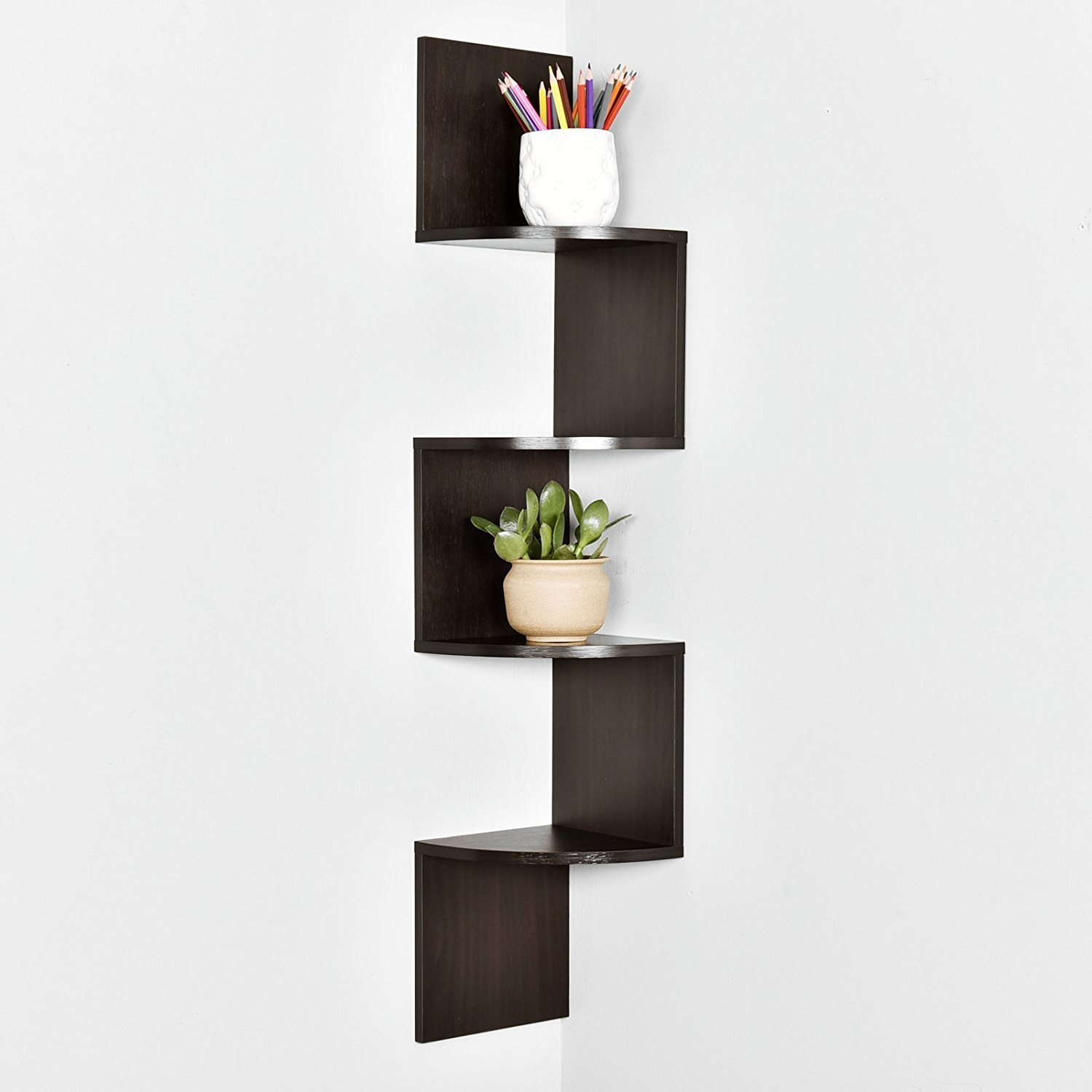 Zig Zag 4 Tier Corner Wall Shelf 40 25 H X 7 8 W X 7 8 T Wall Mounted Corner Wall Shelf For Bed Room Living Room Kitchen Corner Wall Shelves Shelves Wall Shelves