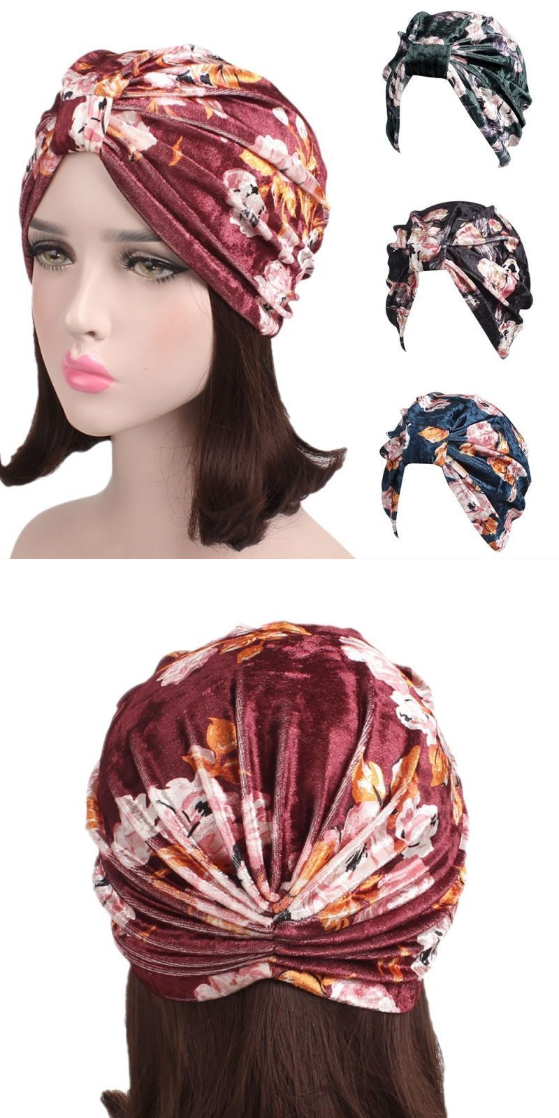 d71cacfdab2 Women caps fashion muslim ladies stretch velvet floral cancer chemo hat  comfortable beanie scarf turban head wrap cap  cotton