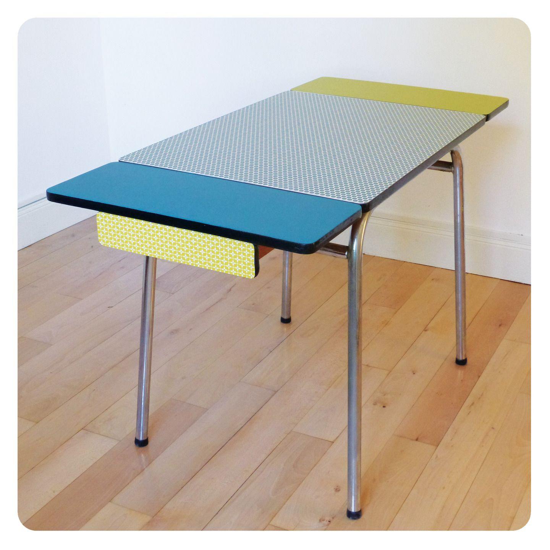 Table Formica Mobilier Vintage Revisite Tout En Couleur Meubles Et Rangements Par D Une Certaine Facon Table Formica Mobilier De Salon Relooker Meuble