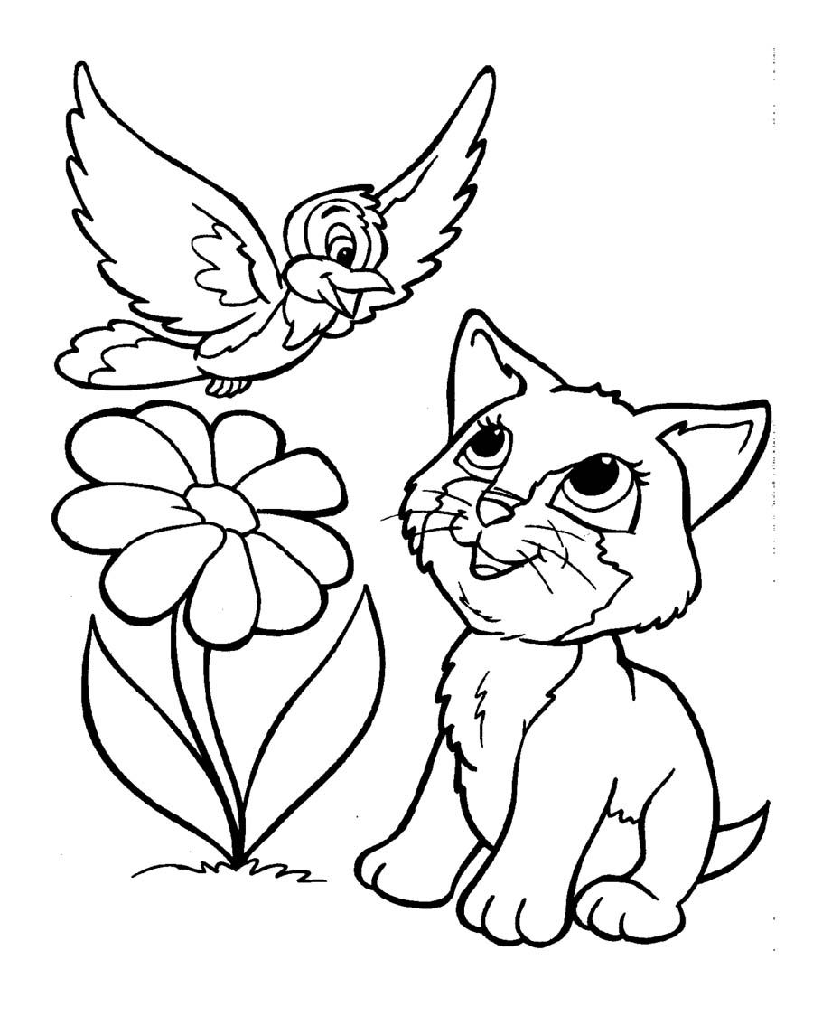 Kittens And Bird Coloring Page Bird Coloring Pages Puppy Coloring Pages Kittens Coloring