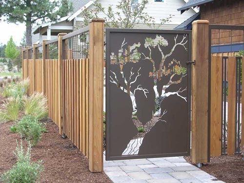 Puerta jardín zen japonés arbol Puertas de Exterior Diseño