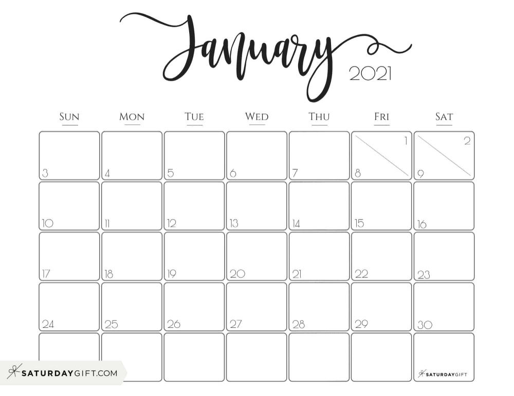 Photos of Monthly Calendar January 2021