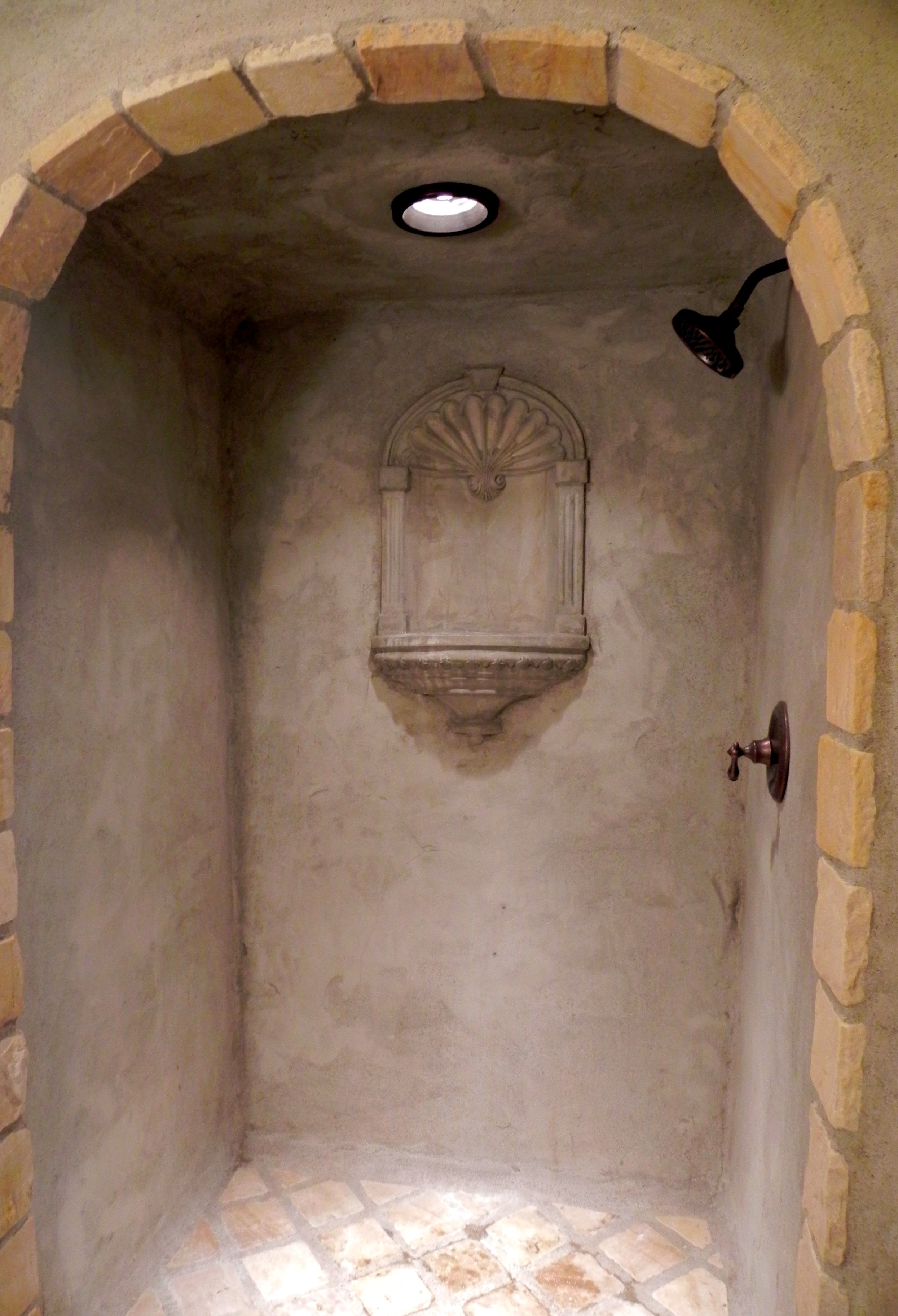 Custom Concrete And Tile Shower European In Design With