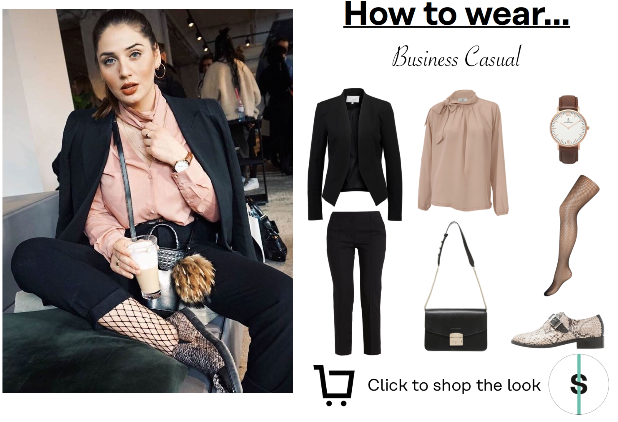 Business Casual Look :) Click to shop :)  ->Netzstrumpfhose, Kapten and Son, Snakeprint, Bluse, Furla, Blazer