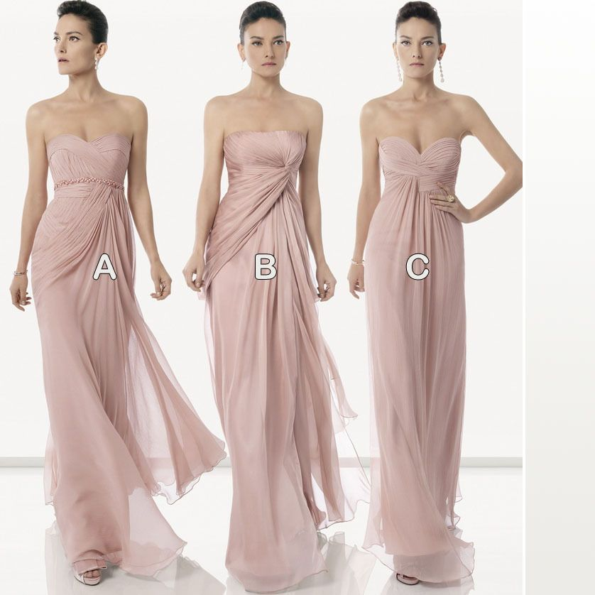 Sexy Dirty Pink Bridesmaid Dresses 2015 Long Floor Length Chiffon Group Dress Gown
