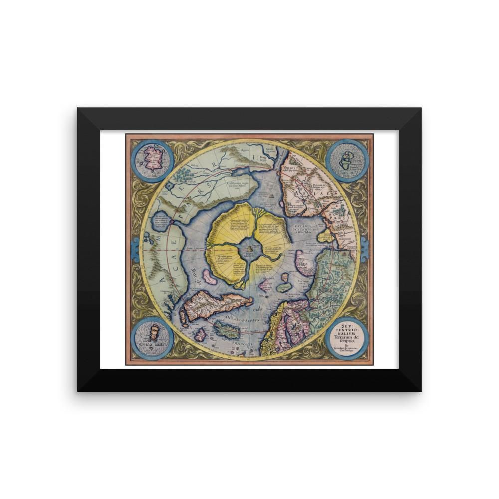 Mercator Hondius Map of the Arctic - Premium Luster Paper Poster (FRAMED)
