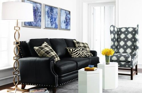 Posted On Houzz Com By Horchow Massoud Brockton Leather Sofa Interior Design Living Room Eclectic Living Room Sofa Design