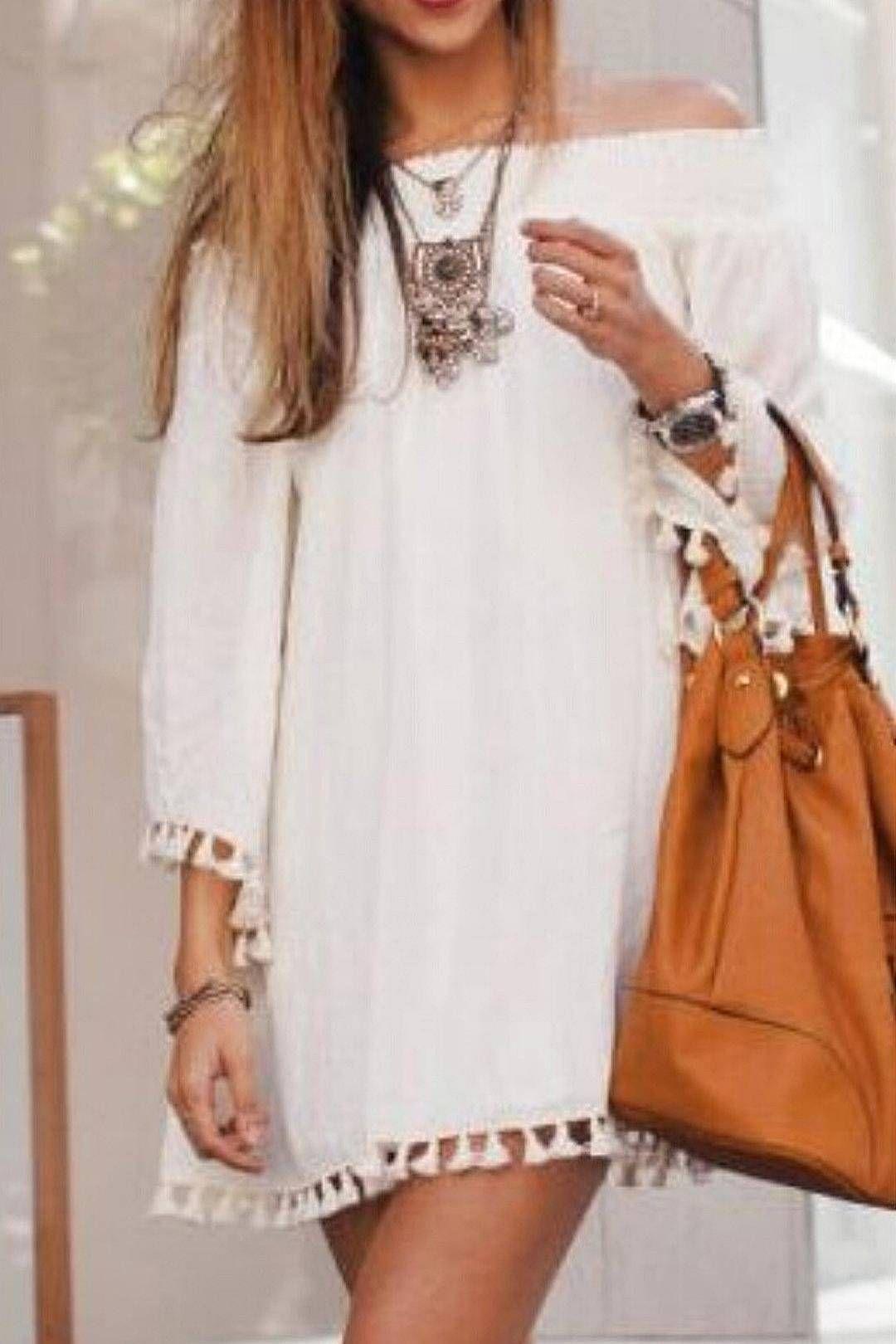 77acf6d11c34 White Off Shoulder Mini Dress with Tassel Detail  white  cute  women  summer   dress  outerwear  streetstyle