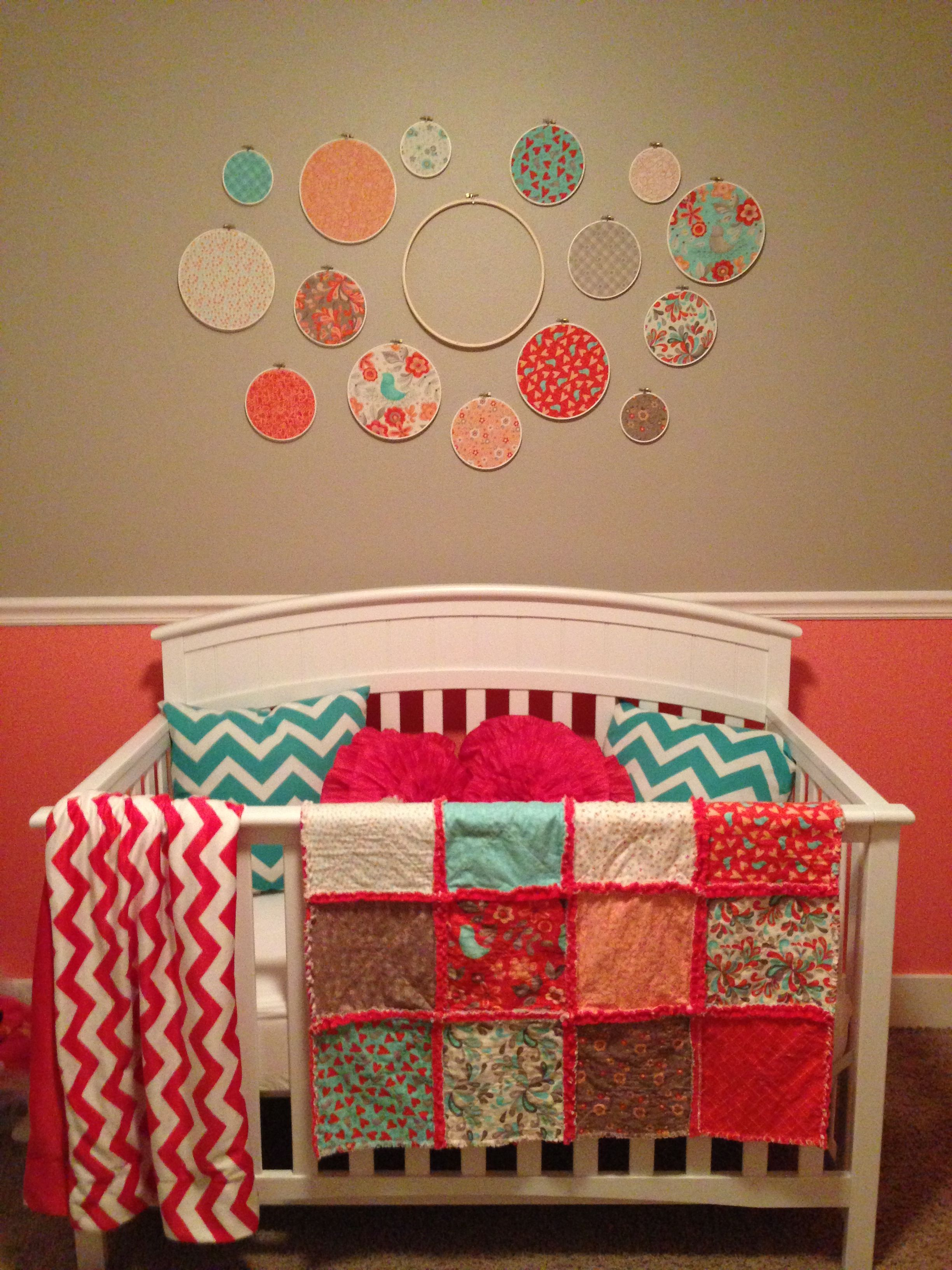 Coral Amp Turquoise Nursery Quilt And Decor Made From Moda