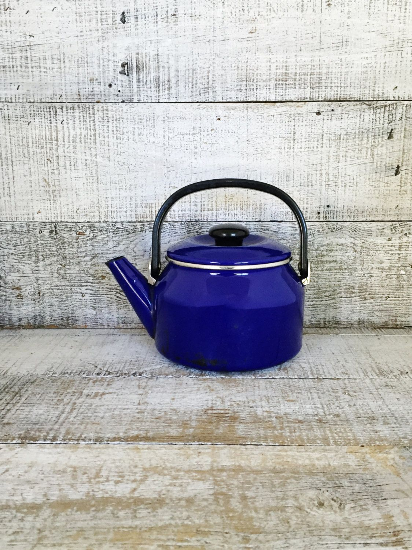 Teapot Vintage Mid Century Metal Tea Pot Vintage Enamel Teapot with Resin Handle Tea Kettle Retro Teapot Mid Century Kitchen Decor by TheDustyOldShack on Etsy
