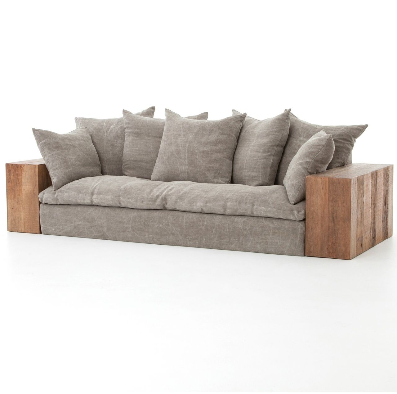 Dorset Industrial Loft Taupe Jute Sofa With Wood Arms Rustic