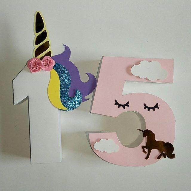 15 a os al estilo unicornio unicorn numeros3d for Decoracion 15 anos unicornio