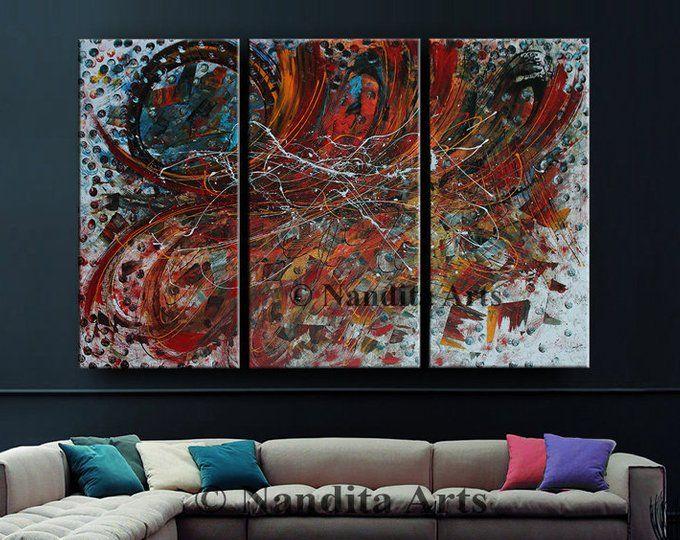 Grosse Wand Abstrakte Malerei Auf Leinwand Ol Wand Dekor Rot Turkis