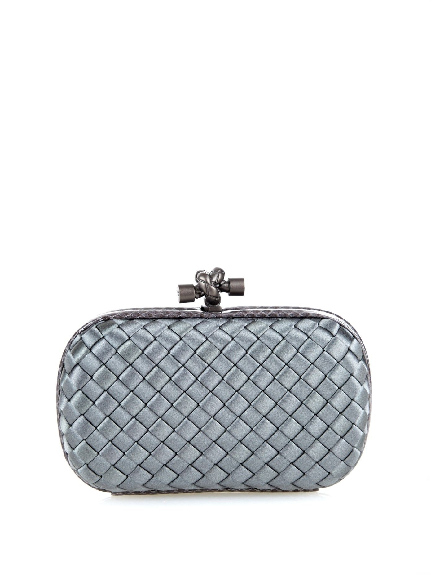 1e5fe85846 Knot satin and watersnake clutch by Bottega Veneta