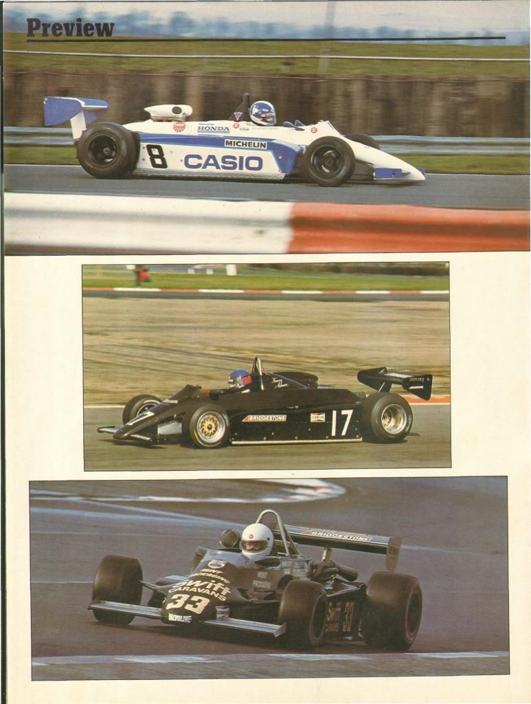1983 Pre season testings (8) Jonathan Palmer - Ralt RH6/83 Honda/Mugen - Ralt Racing Ltd - (17) Kenny Acheson - Maurer MM83 BMW/Heidegger - Maurer Motorsport - (33) Dave Scott - March 832 BMW/Heidegger - Swift Caravans / Mint Engineering 3-31-83 Autosport #7