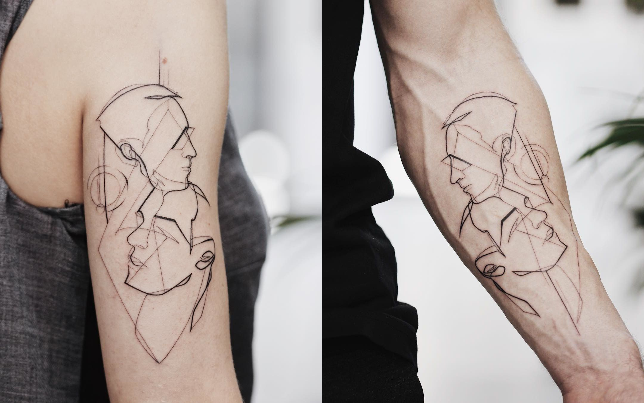 парная татуировка лайнворк портреты в лайнворке тату для пары