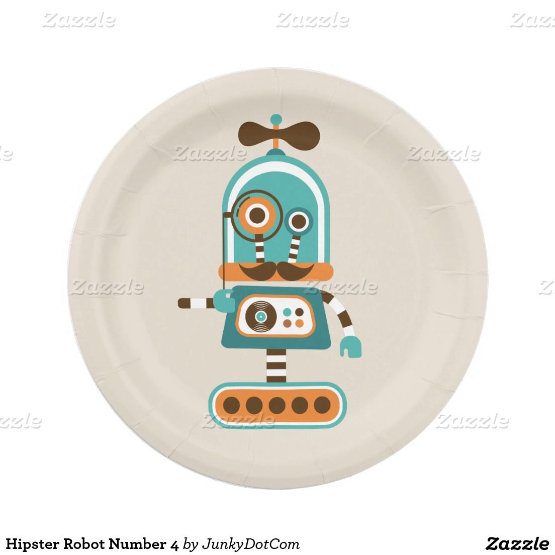 Shop Hipster Robot Number 4 Paper Plate created by JunkyDotCom.  sc 1 st  Pinterest & Hipster Robot Number 4 7 Inch Paper Plate - Feb 15 - 32x | 2016 Best ...