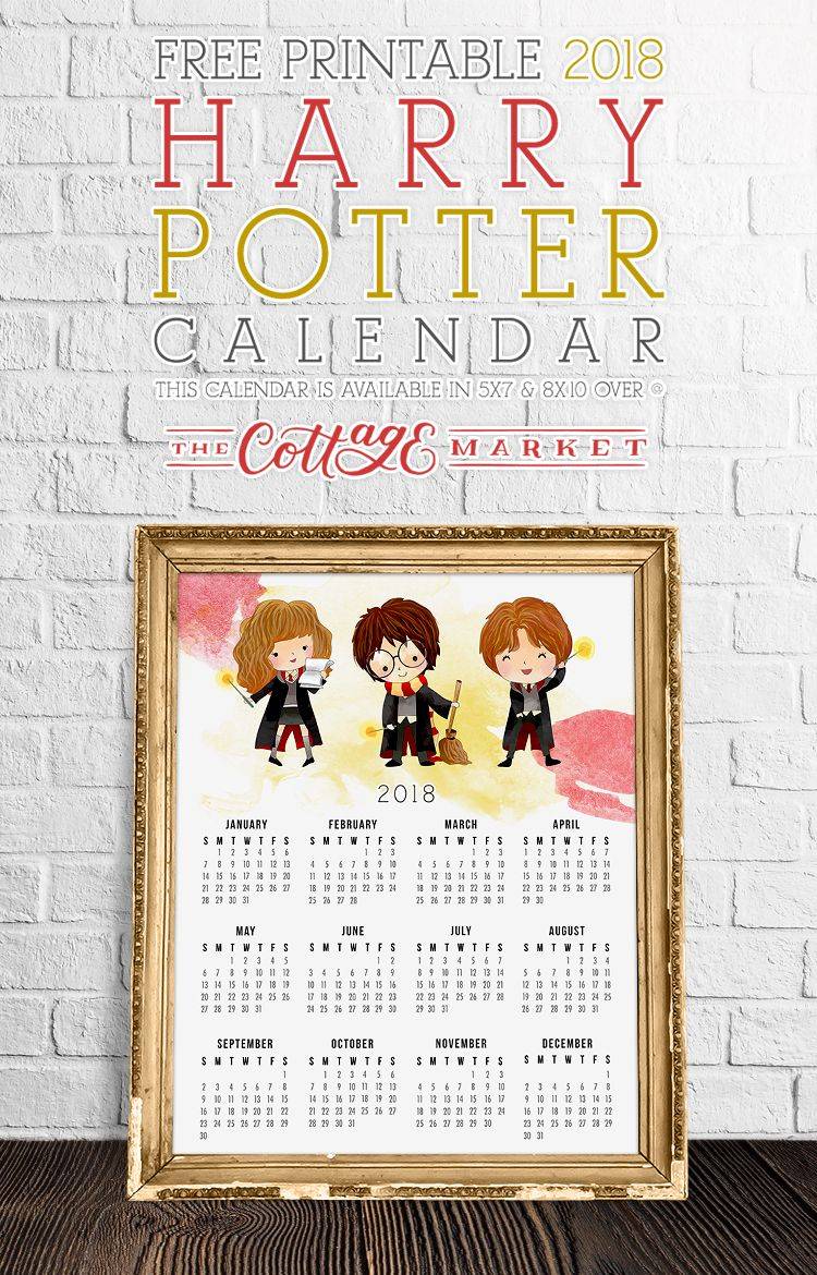 Free Printable 2018 Harry Potter Calendar | fun decorating ...